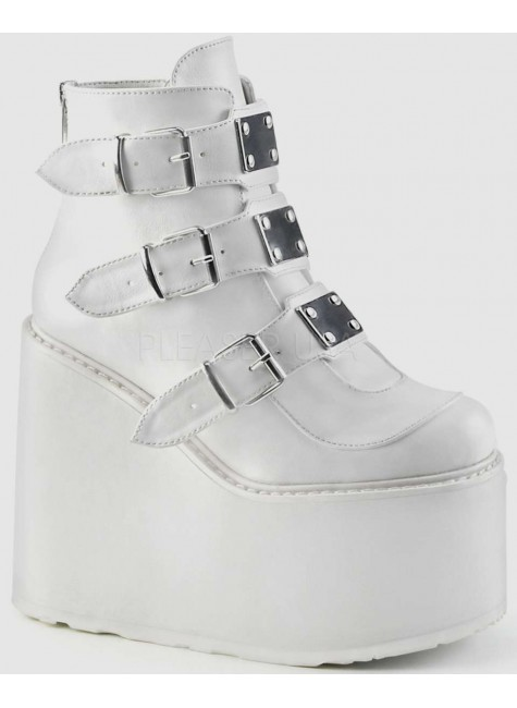 White Swing 105 Platform Wedge Ankle Boot at Gothic Plus, Gothic Clothing, Jewelry, Goth Shoes & Boots & Home Decor