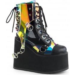 Hologram Bondage Strap Black Gothic Ankle Boots Gothic Plus Gothic Clothing, Jewelry, Goth Shoes & Boots & Home Decor