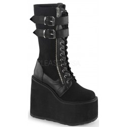 Swing 221 Canvas and Vegan Leather Knee Boot Gothic Plus Gothic Clothing, Jewelry, Goth Shoes & Boots & Home Decor