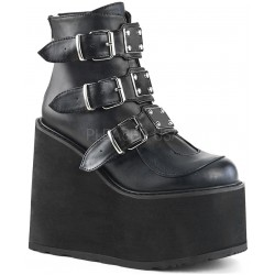 Black Swing 105 Platform Wedge Ankle Boot Gothic Plus Gothic Clothing, Jewelry, Goth Shoes & Boots & Home Decor