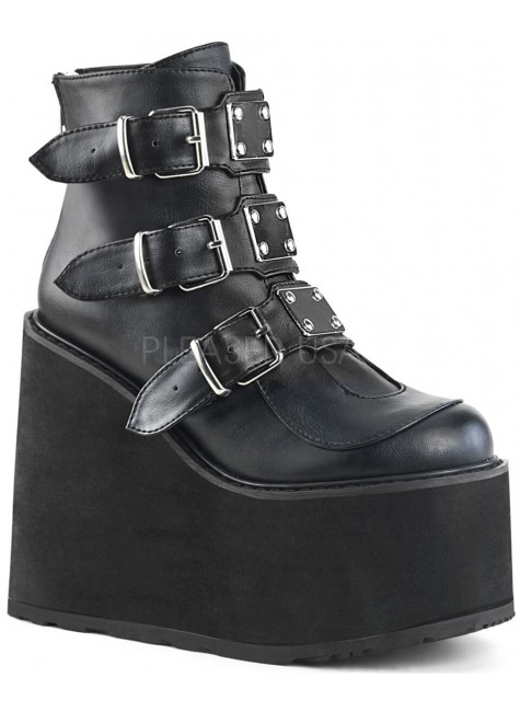 Black Faux Leather Swing 105 Platform Ankle Boot at Gothic Plus, Gothic Clothing, Jewelry, Goth Shoes & Boots & Home Decor