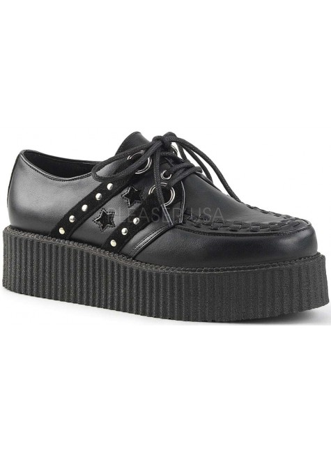 Black Stars and Stripes Faux Leather Mens Creeper Loafer at Gothic Plus, Gothic Clothing, Jewelry, Goth Shoes & Boots & Home Decor