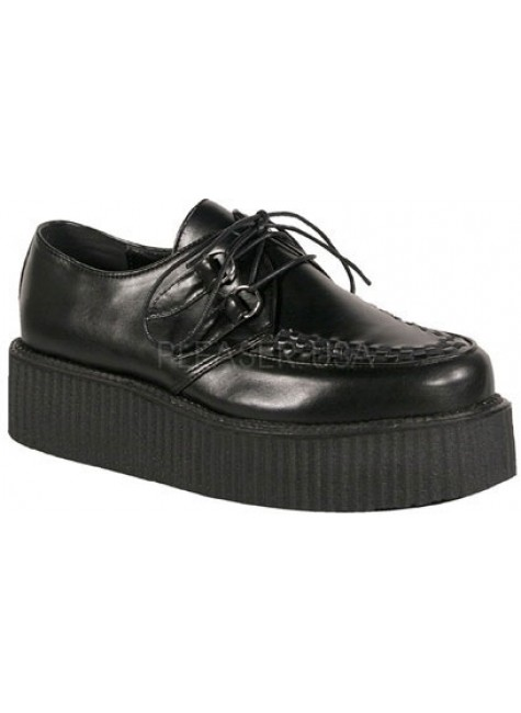 Black Faux Leather Mens Basic Creeper Loafer at Gothic Plus, Gothic Clothing, Jewelry, Goth Shoes & Boots & Home Decor