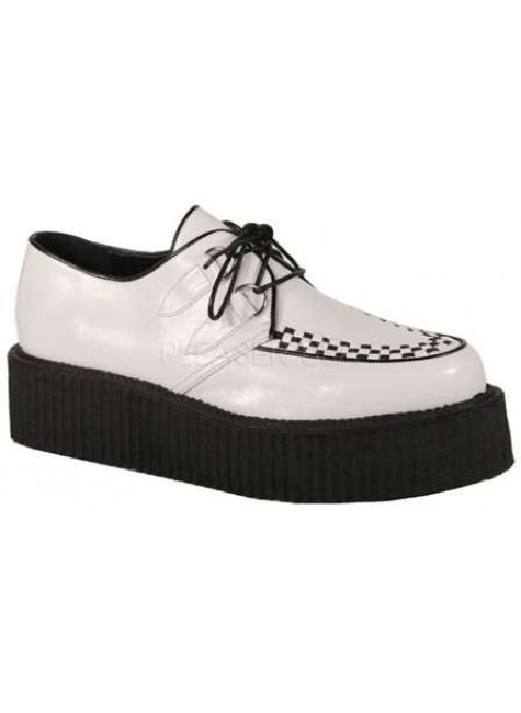 White Faux Leather Mens Basic Creeper Loafer at Gothic Plus, Gothic Clothing, Jewelry, Goth Shoes & Boots & Home Decor