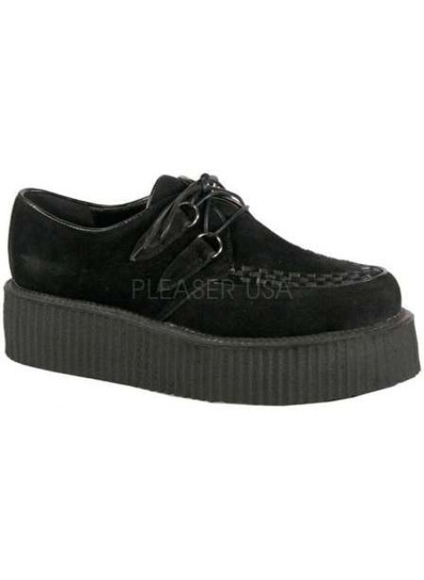 Black Vegan Suede Mens Creeper Loafer at Gothic Plus, Gothic Clothing, Jewelry, Goth Shoes & Boots & Home Decor