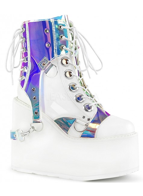 Hologram Bondage Strap White Gothic Ankle Boots at Gothic Plus, Gothic Clothing, Jewelry, Goth Shoes & Boots & Home Decor