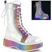 Emily Rainbow Platform White Mid-Calf Boot