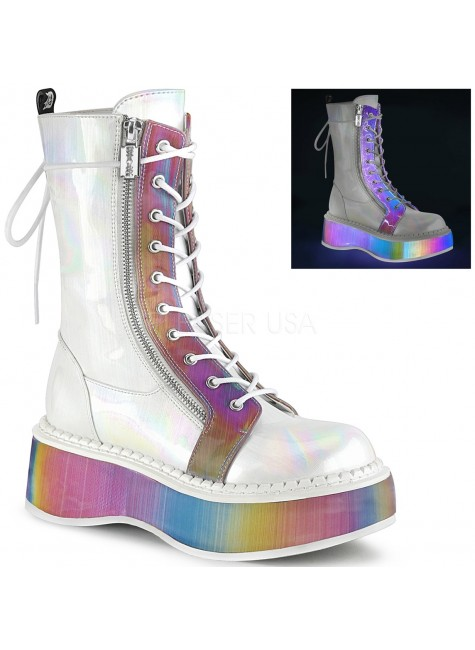 Emily Rainbow Platform White Mid-Calf Boot at Gothic Plus, Gothic Clothing, Jewelry, Goth Shoes & Boots & Home Decor
