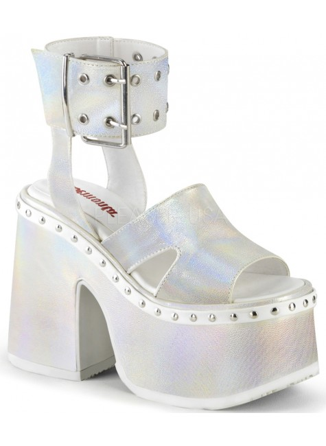 Camel White Hologram Platform Sandals at Gothic Plus, Gothic Clothing, Jewelry, Goth Shoes & Boots & Home Decor