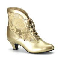 Victorian Dame Gold Ankle Boot
