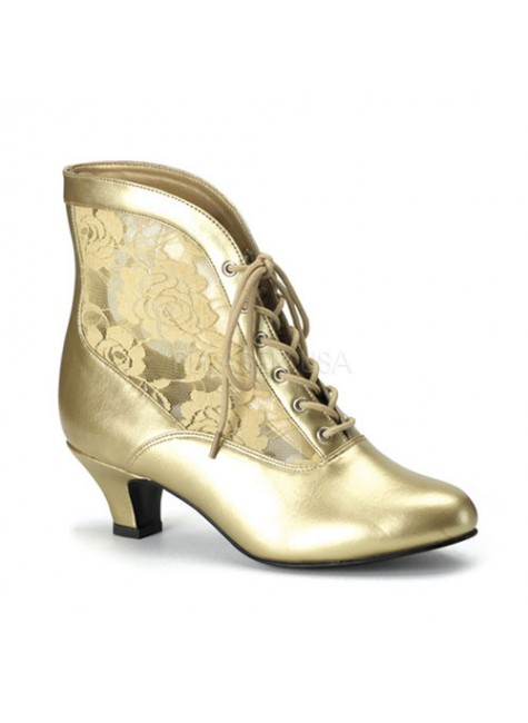 Victorian Dame Gold Ankle Boot at Gothic Plus, Gothic Clothing, Jewelry, Goth Shoes & Boots & Home Decor