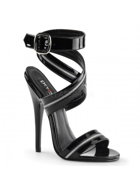 Zippered Domina High Heel Sandal at Gothic Plus, Gothic Clothing, Jewelry, Goth Shoes & Boots & Home Decor