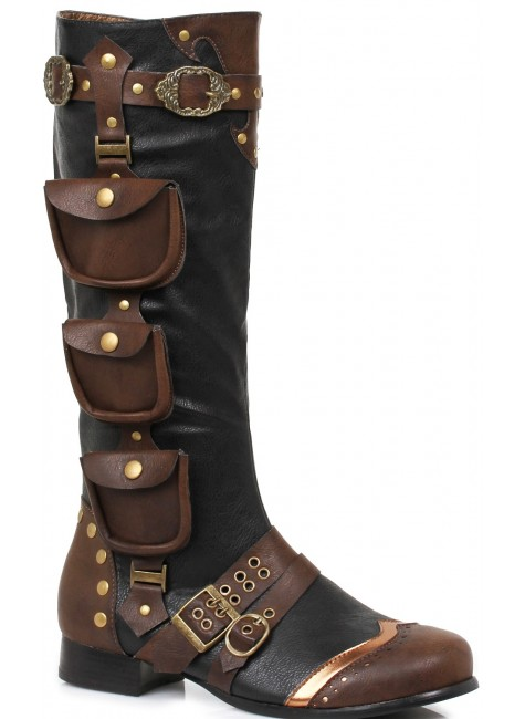 Amos Multi Pocket Steampunk Mens Knee High Boots at Gothic Plus, Gothic Clothing, Jewelry, Goth Shoes & Boots & Home Decor