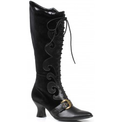 Fain Black Velvet Witches Boot Gothic Plus Gothic Clothing, Jewelry, Goth Shoes & Boots & Home Decor