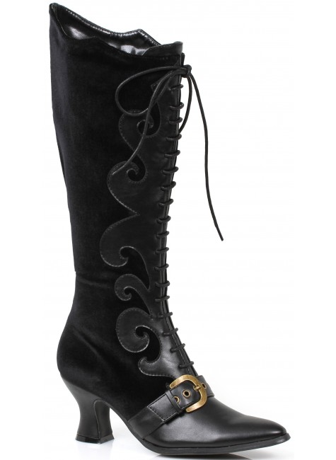 Fain Black Velvet Witches Boot at Gothic Plus, Gothic Clothing, Jewelry, Goth Shoes & Boots & Home Decor