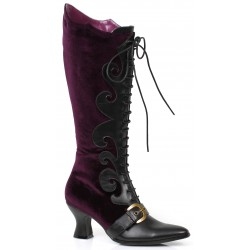 Fain Purple Velvet Witches Boot Gothic Plus Gothic Clothing, Jewelry, Goth Shoes & Boots & Home Decor