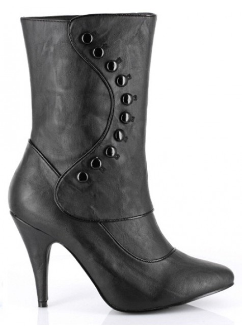 Ruth Black Ankle Boots with Button Detail at Gothic Plus, Gothic Clothing, Jewelry, Goth Shoes & Boots & Home Decor