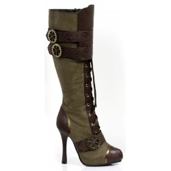 Quinley Steampunk Olive Green Boots Gothic Plus Gothic Clothing, Jewelry, Goth Shoes & Boots & Home Decor