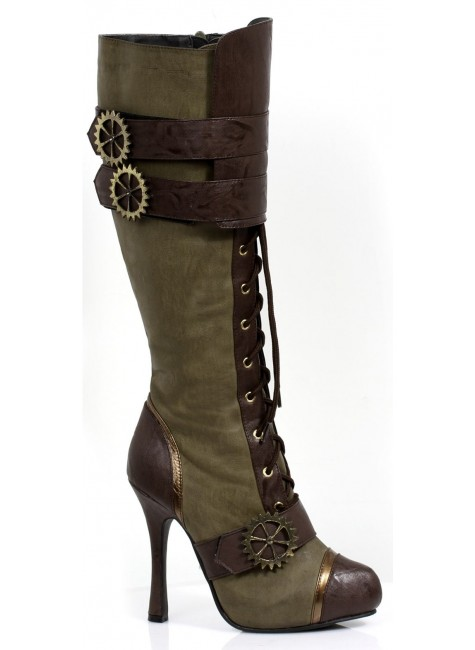 Quinley Steampunk Olive Green Boots