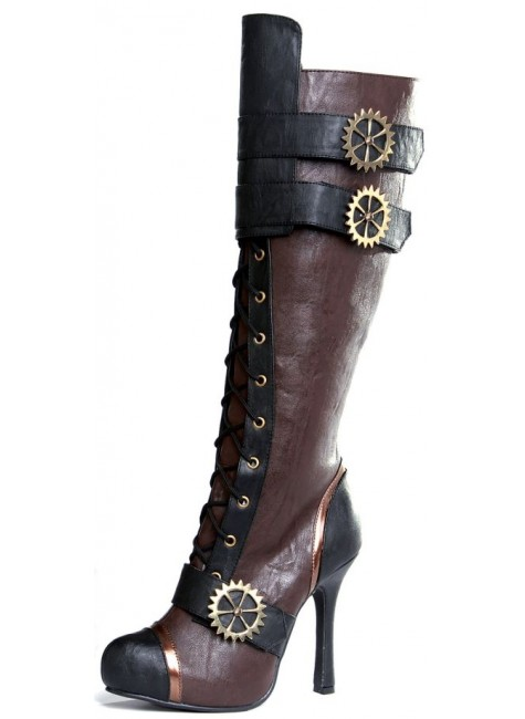 Quinley Steampunk Brown Boots at Gothic Plus, Gothic Clothing, Jewelry, Goth Shoes & Boots & Home Decor