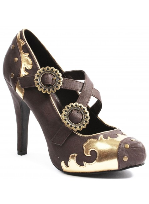 Steel Steampunk Brown Mary Jane Pumps at Gothic Plus, Gothic Clothing, Jewelry, Goth Shoes & Boots & Home Decor