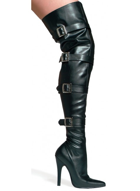 Buckle Up Black Faux Leather Thigh High 5 Inch Heel Boot at Gothic Plus, Gothic Clothing, Jewelry, Goth Shoes & Boots & Home Decor