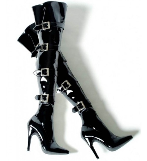 Buckle Up Black Thigh High 5 Inch Heel Boot at Gothic Plus,  Gothic Clothing, Jewelry, Goth Shoes, Boots & Home Decor