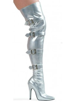 Buckle Up Silver Thigh High 5 Inch Heel Boot Gothic Plus Gothic Clothing, Jewelry, Goth Shoes & Boots & Home Decor