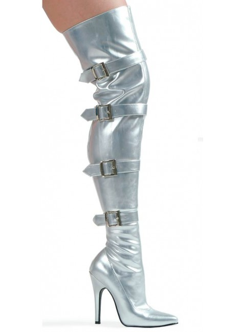 Buckle Up Silver Thigh High 5 Inch Heel Boot at Gothic Plus, Gothic Clothing, Jewelry, Goth Shoes & Boots & Home Decor