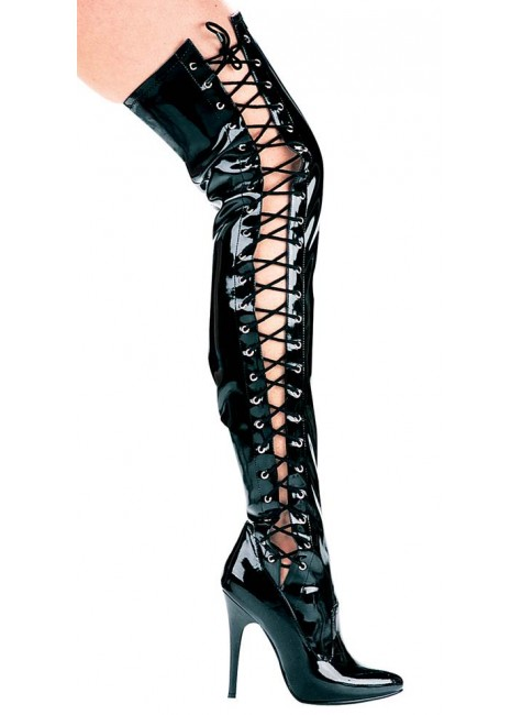 Ferocious Side Lacing Thigh High 5 Inch Heel Boot at Gothic Plus, Gothic Clothing, Jewelry, Goth Shoes & Boots & Home Decor