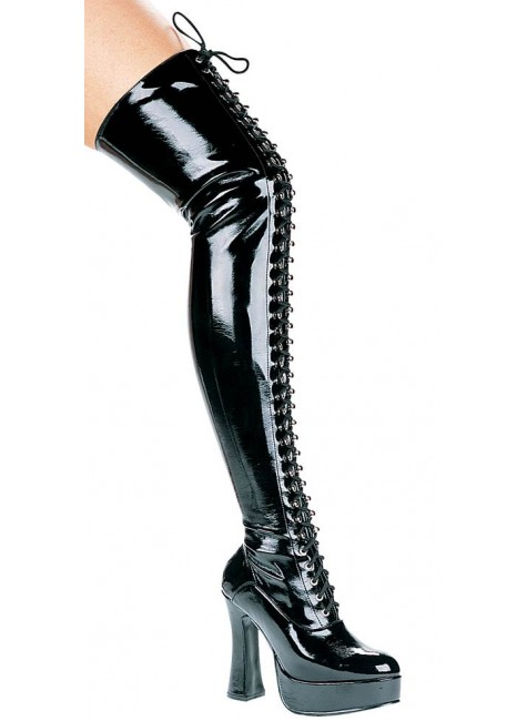 Olivia Lace Up Thigh High Platform Boots at Gothic Plus, Gothic Clothing, Jewelry, Goth Shoes & Boots & Home Decor