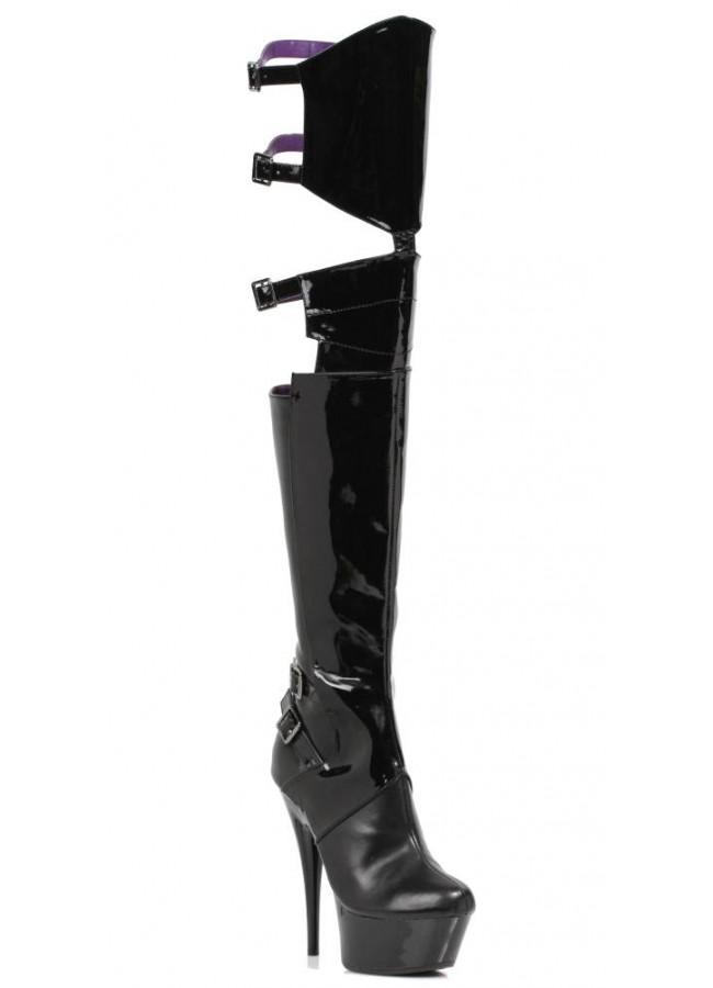 ce89fd89c93 Felicia Split Thigh High Faux Leather Platform Boot - 6 Inch Heel