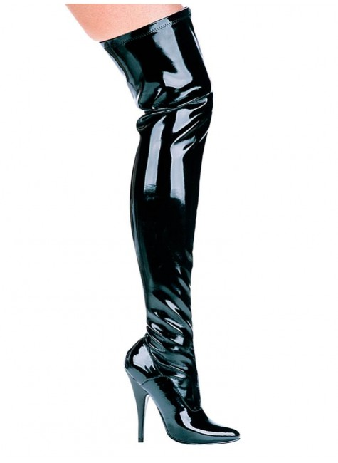 Ally Black Patent Thigh High 5 Inch Heel Boot at Gothic Plus, Gothic Clothing, Jewelry, Goth Shoes & Boots & Home Decor
