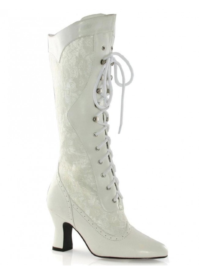 Rebecca Victorian White Lace Boot with