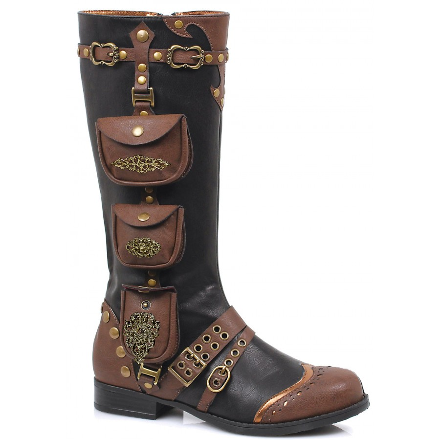 Womens Low Heel Steampunk Style Boot in Black