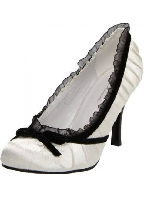 Satin Doll White High Heel Pump at Gothic Plus, Gothic Clothing, Jewelry, Goth Shoes & Boots & Home Decor