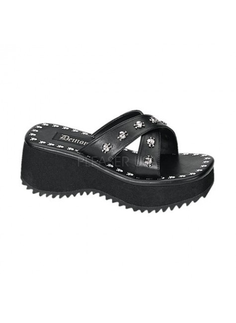 Flip Skull Studded Platform Gothic Sandal at Gothic Plus, Gothic Clothing, Jewelry, Goth Shoes & Boots & Home Decor