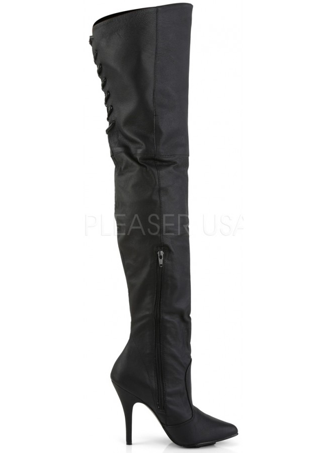 3470fe2b2af1 ... Legend Black Lace up Back Leather Thigh High Boot at Gothic Plus