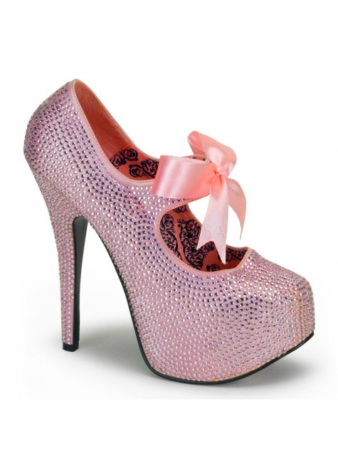 Baby Pink Rhinestone Teeze Platform Pump at Gothic Plus, Gothic Clothing, Jewelry, Goth Shoes & Boots & Home Decor