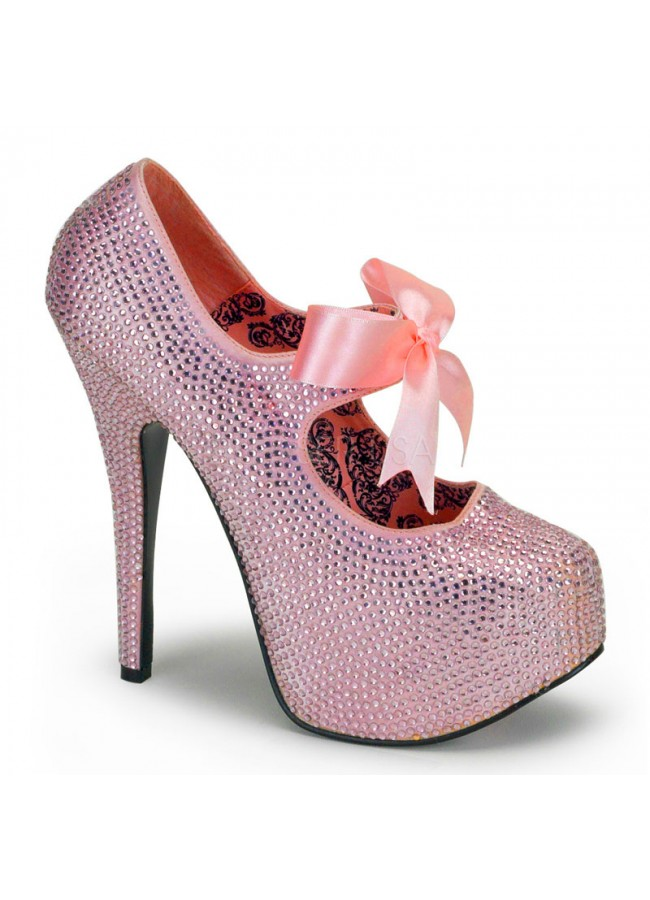 479632d0a621 Baby Pink Rhinestone Covered Platform High Heel Pump - Bling Shoes