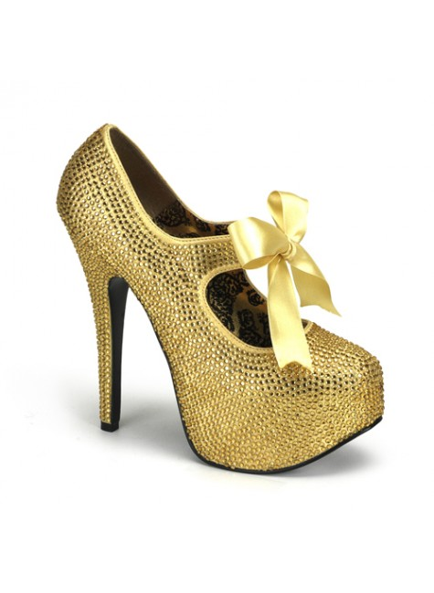 Gold Rhinestone Teeze Platform Pump at Gothic Plus, Gothic Clothing, Jewelry, Goth Shoes & Boots & Home Decor