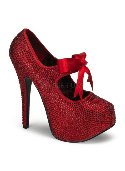 Ruby Red Rhinestone Teeze Platform Pump at Gothic Plus, Gothic Clothing, Jewelry, Goth Shoes & Boots & Home Decor