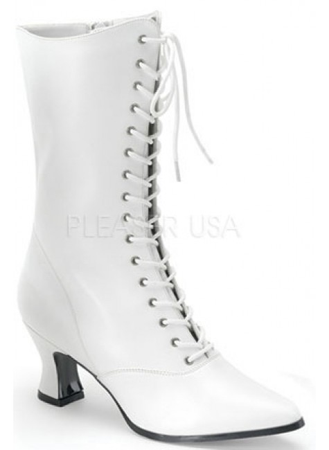 White Victorian Steampunk Ankle Boots at Gothic Plus, Gothic Clothing, Jewelry, Goth Shoes & Boots & Home Decor