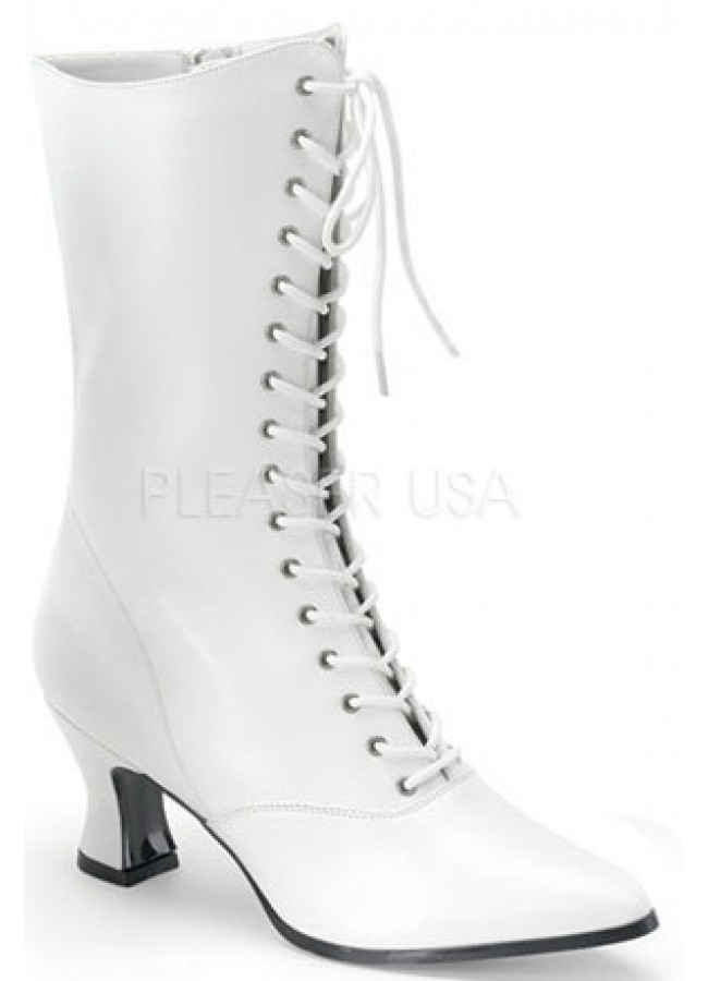 White Victorian Ankle High Granny Boot