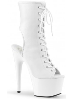White Faux Leather Adore Platform Ankle Boots Gothic Plus Gothic Clothing, Jewelry, Goth Shoes & Boots & Home Decor