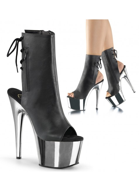 Chrome Heel Black Peep Toe and Heel Platform Ankle Boot at Gothic Plus, Gothic Clothing, Jewelry, Goth Shoes & Boots & Home Decor