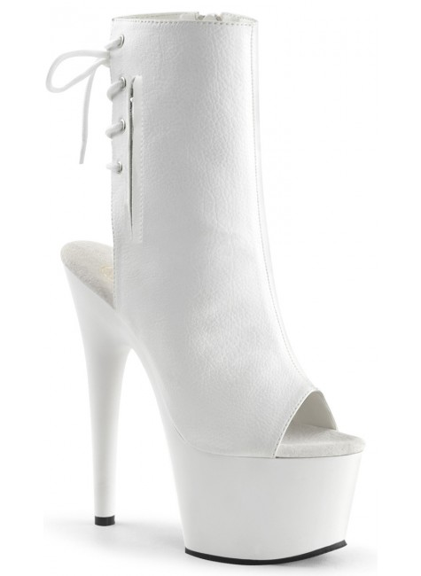 White Peep Toe and Heel Platform Ankle Boot at Gothic Plus, Gothic Clothing, Jewelry, Goth Shoes & Boots & Home Decor