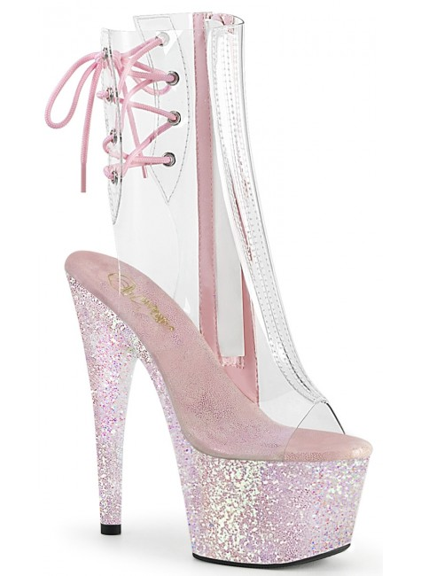 Holographic Glitter Clear Platform Adore Ankle Boot at Gothic Plus, Gothic Clothing, Jewelry, Goth Shoes & Boots & Home Decor