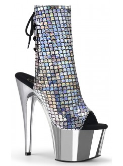 Mermaid Silver Hologram Ankle Boot Gothic Plus Gothic Clothing, Jewelry, Goth Shoes & Boots & Home Decor