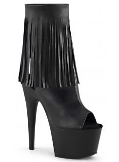 Fringed Black Peep Toe and Heel Platform Ankle Boot